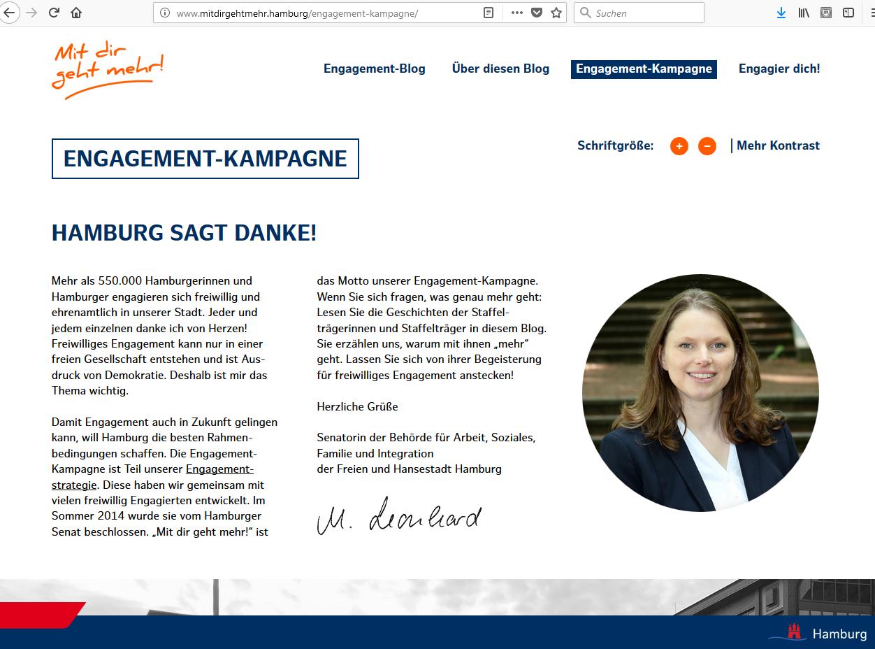 Melanie Leonhard: Hamburg sagt DANKE mit Engagement-Kampagne Mit dir geht mehr!
