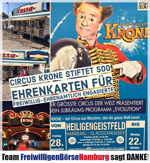Circus Krone stiftet Ehrenkarten an FreiwilligenBoerseHamburg
