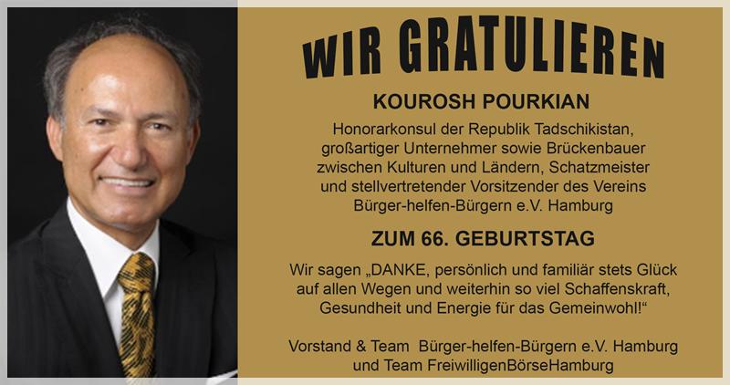 Gratulation und Danksagung an Kourosh Pourkian